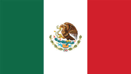 Official current vector flag of federal presidential constitutional republic of Mexico Illustration