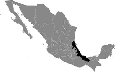 Black location map of Mexican Veracruz state inside gray map of Mexico