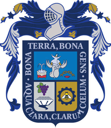 Official vector coat of arms of the Mexican state of Aguascalientes Illustration