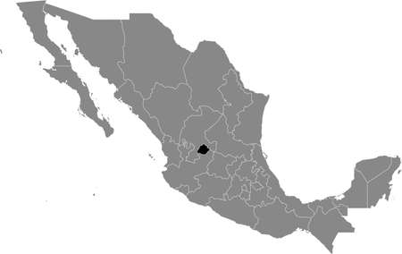 Black location map of Mexican Aguascalientes state inside gray map of Mexico Illustration