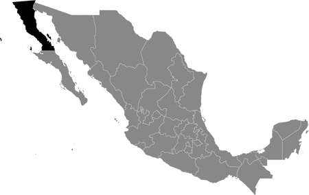 Black location map of Mexican Baja California state inside gray map of Mexico Illustration