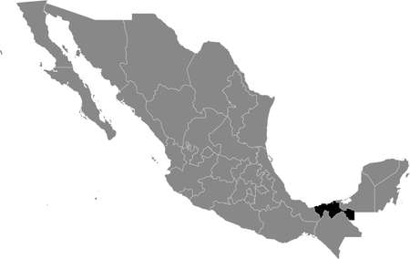 Black location map of Mexican Tabasco state inside gray map of Mexico Illustration
