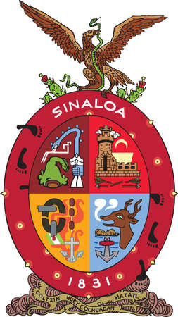 Official vector coat of arms of the Mexican state of Sinaloa