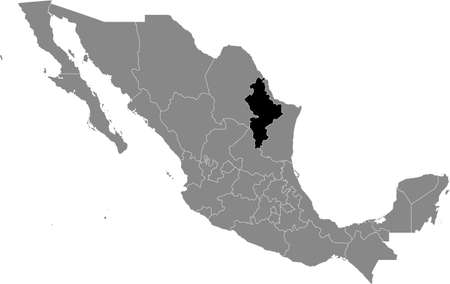 Black location map of Mexican Nuevo León state inside gray map of Mexico