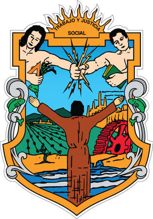 Official vector coat of arms of the Mexican state of Baja California Illustration