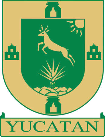Official vector coat of arms of the Mexican state of Yucatán Illustration