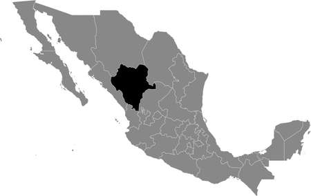 Black location map of Mexican Durango state inside gray map of Mexico Illustration