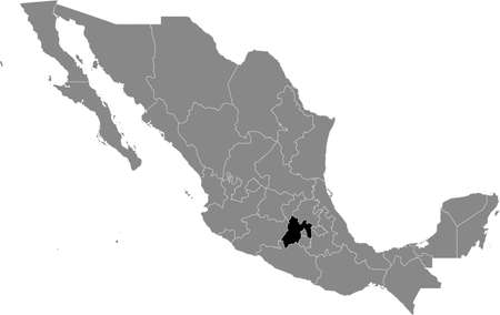 Black location map of Mexican México state inside gray map of Mexico