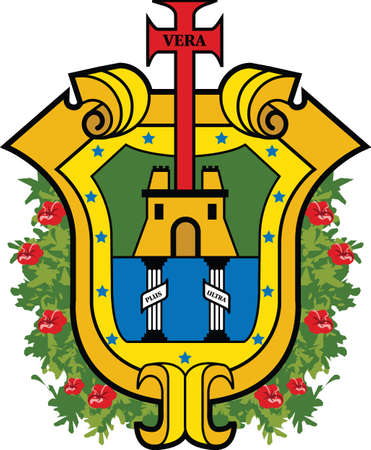Official vector coat of arms of the Mexican state of Veracruz