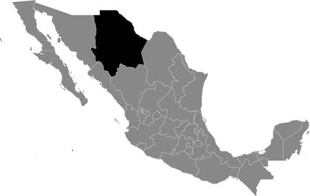 Black location map of Mexican Chihuahua state inside gray map of Mexico Illustration