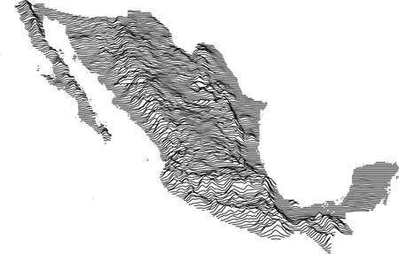 Topographic map of Mexico with black contour lines