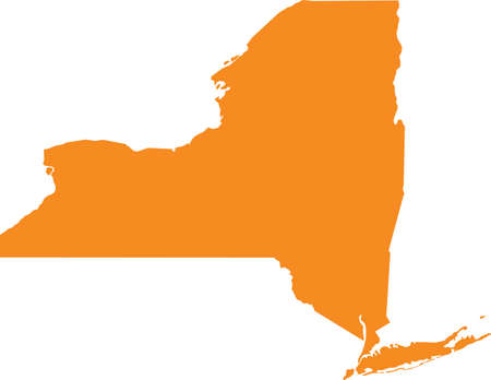 Orange map of US federal state of New York (Empire State)