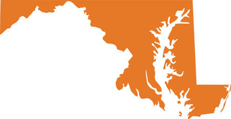 Orange map of US federal state of Maryland (Old Line State)