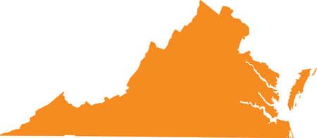 Orange map of US federal state of Virginia (Old Dominion, Mother of Presidents) Vettoriali