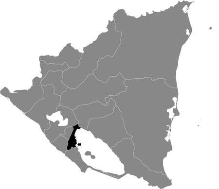 Black location map of the Nicaraguan Granada department inside gray map of Nicaragua Vettoriali
