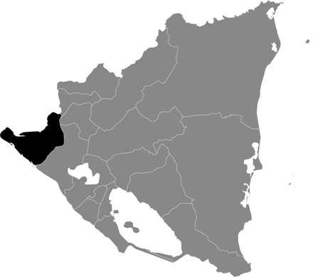 Black location map of the Nicaraguan Chinandega department inside gray map of Nicaragua