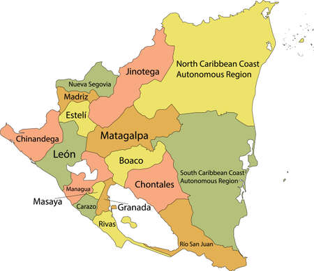 Pastel vector map of Nicaragua with black borders and names of it's departments Illustration
