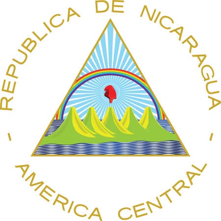 Official current vector coat of arms of unitary dominant-party presidential constitutional republic of Nicaragua