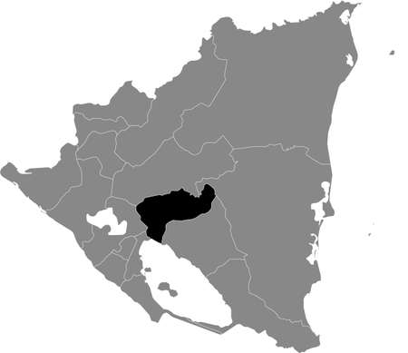 Black location map of the Nicaraguan Boaco department inside gray map of Nicaragua