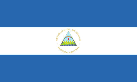 Official current vector flag of unitary dominant-party presidential constitutional republic of Nicaragua Illustration