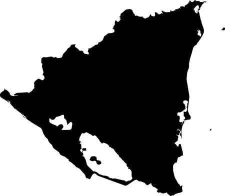 Black vector map of unitary dominant-party presidential constitutional republic of Nicaragua