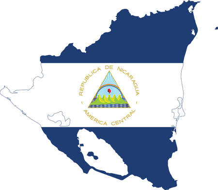 Flag of Nicaragua cropped inside it's map