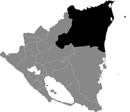 Black location map of the Nicaraguan North Caribbean Coast Autonomous Region inside gray map of Nicaragua Illustration