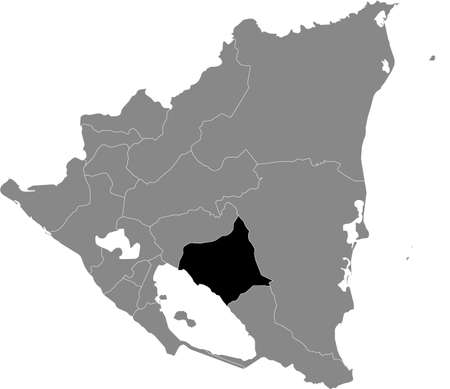 Black location map of the Nicaraguan Chontales department inside gray map of Nicaragua
