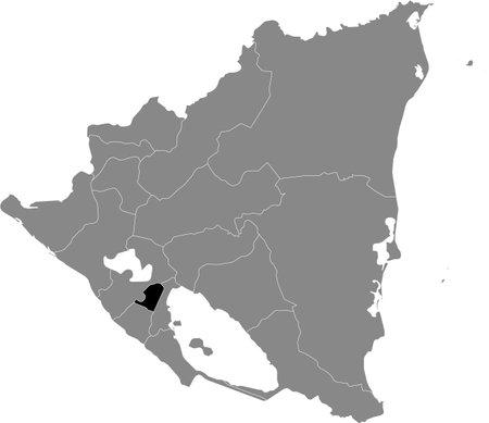 Black location map of the Nicaraguan Masaya department inside gray map of Nicaragua
