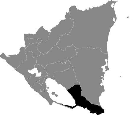 Black location map of the Nicaraguan Río San Juan department inside gray map of Nicaragua