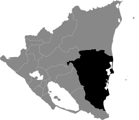 Black location map of the Nicaraguan South Caribbean Coast Autonomous Region inside gray map of Nicaragua