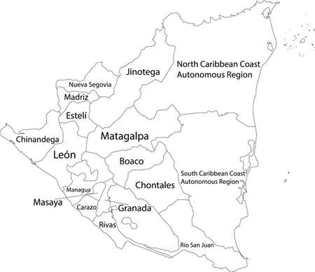 White vector map of Nicaragua with black borders and names of it's departments