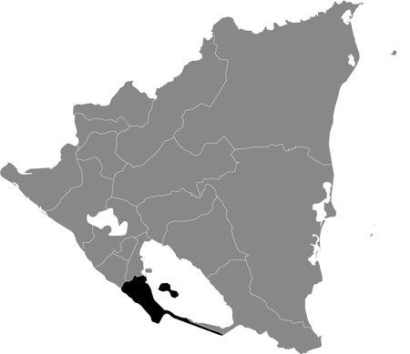 Black location map of the Nicaraguan Rivas department inside gray map of Nicaragua