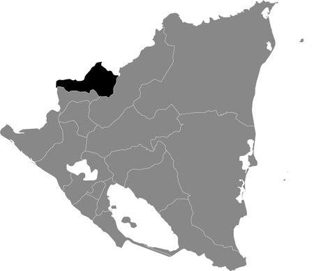 Black location map of the Nicaraguan Nueva Segovia department inside gray map of Nicaragua