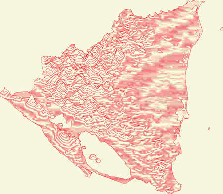 Topographic map of Nicaragua with red contour lines on beige background