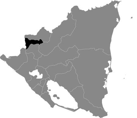 Black location map of the Nicaraguan Madriz department inside gray map of Nicaragua