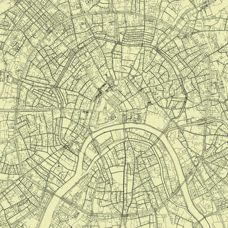 Detailed road map plan in retro beige style of european city of urban area Moscow