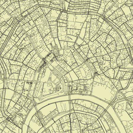 Detailed road map plan in retro beige style of european city of downtown Moscow