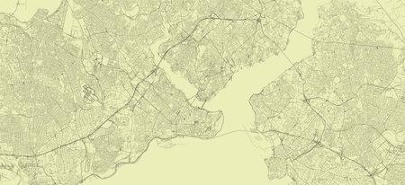 Detailed road map plan in retro beige style of european city of metropolitan Istanbul