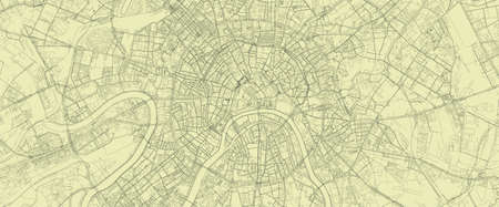 Detailed road map plan in retro beige style of european city of metropolitan Moscow