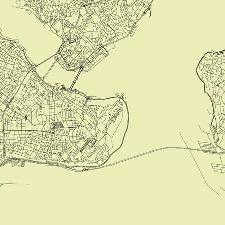 Detailed road map plan in retro beige style of european city of downtown Istanbul