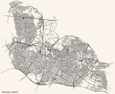 Black simple detailed street roads map on vintage beige background of the neighbourhood district Ãœmraniye of Istanbul, Turkey