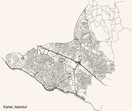 Black simple detailed street roads map on vintage beige background of the neighbourhood district Kartal of Istanbul, Turkey