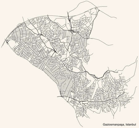 Black simple detailed street roads map on vintage beige background of the neighbourhood district GaziosmanpaÅŸa of Istanbul, Turkey Ilustração