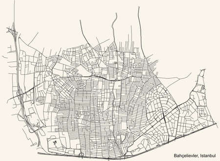 Black simple detailed street roads map on vintage beige background of the neighbourhood district Bahçelievler of Istanbul, Turkey Ilustração
