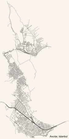Black simple detailed street roads map on vintage beige background of the neighbourhood district Avcılar of Istanbul, Turkey