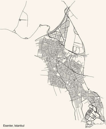Black simple detailed street roads map on vintage beige background of the neighbourhood district Esenler of Istanbul, Turkey Ilustração