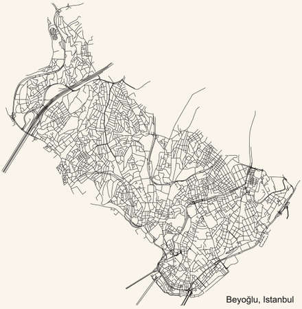 Black simple detailed street roads map on vintage beige background of the neighbourhood district BeyoÄŸlu of Istanbul, Turkey