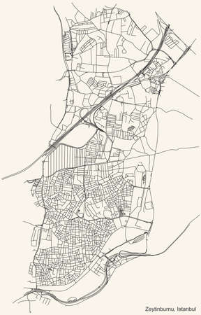 Black simple detailed street roads map on vintage beige background of the neighbourhood district Zeytinburnu of Istanbul, Turkey
