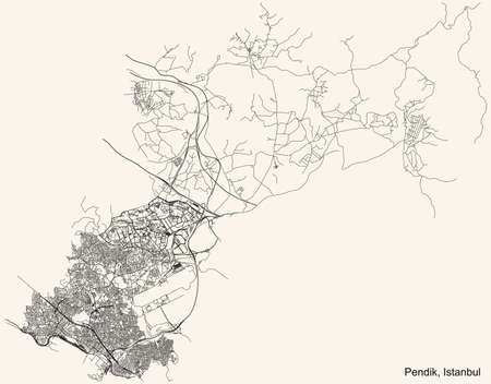 Black simple detailed street roads map on vintage beige background of the neighbourhood district Pendik of Istanbul, Turkey Ilustração